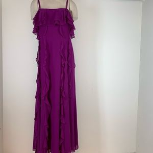 Tahari Dress Purple Ruffle Long Lined Formal Sz 12